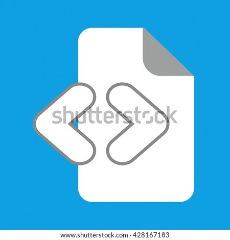 Document icon on blue background - stock vector