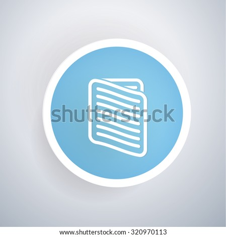 Document icon on blue button background, clean vector - stock vector