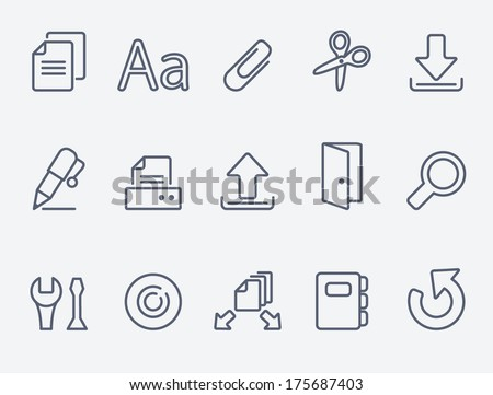 Document icon set - stock vector
