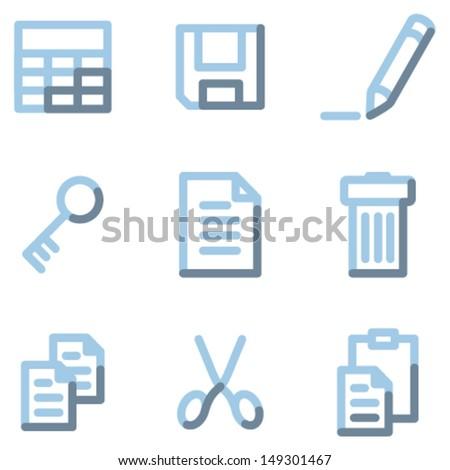 Document icons, light blue contour - stock vector
