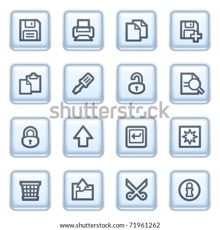 Document icons on blue buttons, set 1. - stock vector