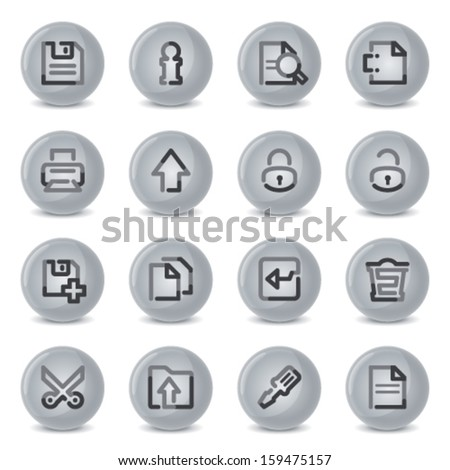 Document icons  on gray buttons. - stock vector