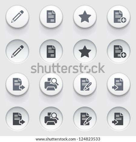 Document icons on white buttons. Set 1. - stock vector