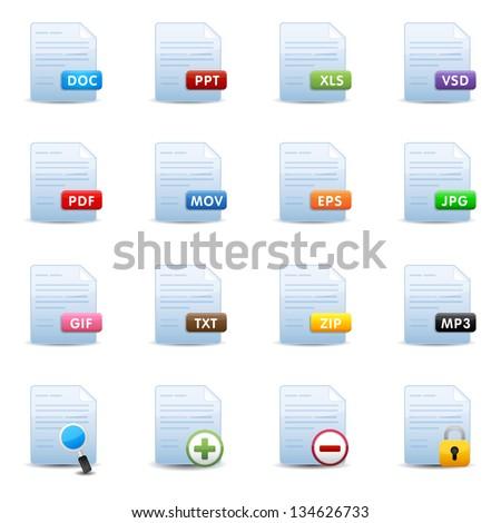 Document Icons Set - stock vector