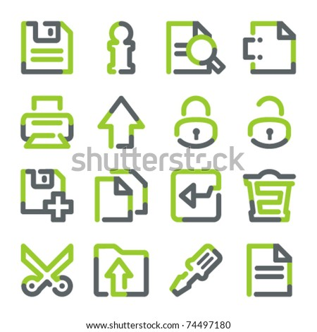 Document icons. set 2. Green gray contour series. - stock vector
