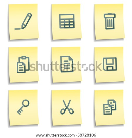 Document icons set 1, yellow notes series - stock vector