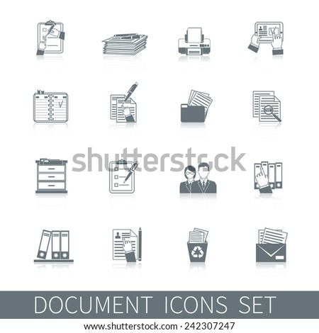 Document office archive control paper documentation icon black set isolated vector illustration - stock vector