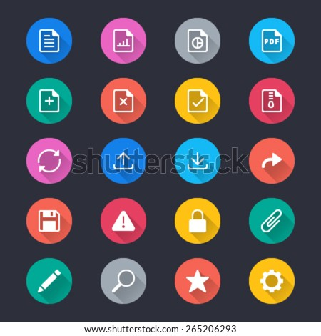 Document simple color icons - stock vector