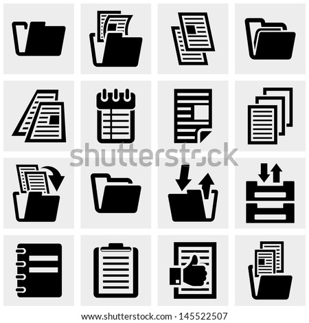 Document vector icons set on gray. - stock vector