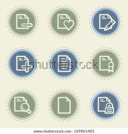 Document web icon set 2, vintage buttons - stock vector