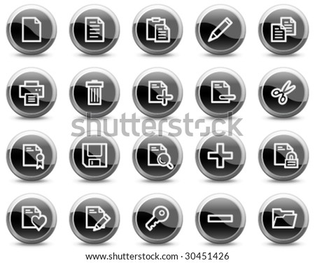 Document web icons, black glossy circle buttons series - stock vector
