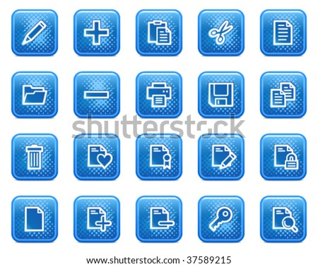 Document web icons, blue square buttons with dots - stock vector