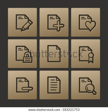 Document web icons, buttons set - stock vector