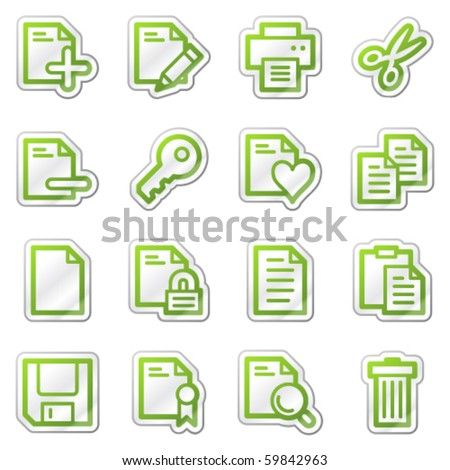 Document web icons, green contour sticker series - stock vector