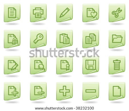 Document web icons, green document series - stock vector