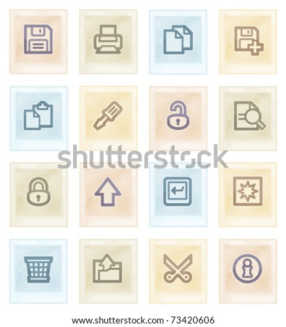 Document web icons on color paper, set 1. - stock vector