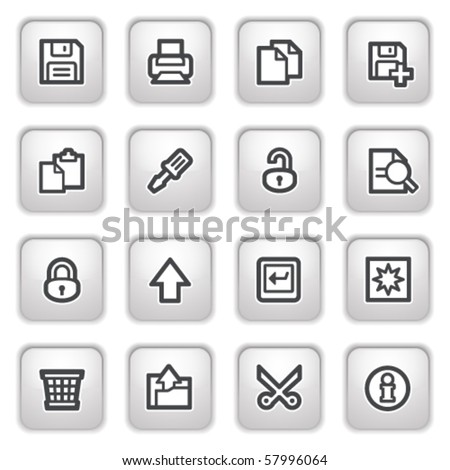 Document web icons on gray buttons, set 1. - stock vector