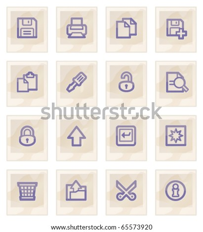 Document web icons on paper, set 1. - stock vector