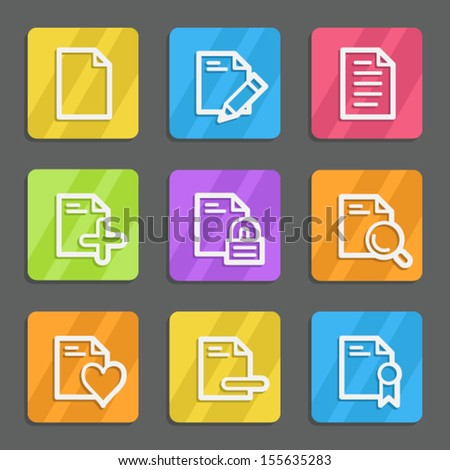 Document web icons set 2, color flat buttons - stock vector