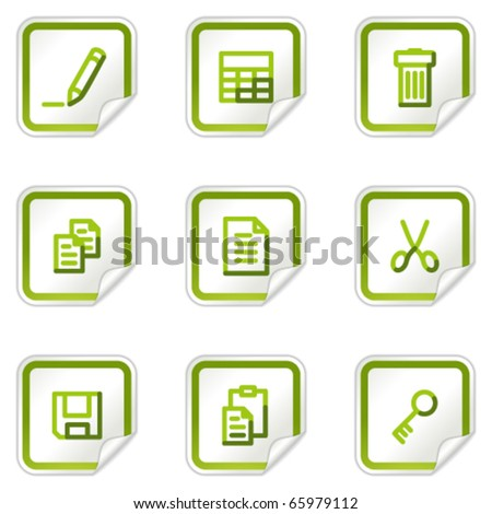 Document web icons set 1, green stickers series - stock vector