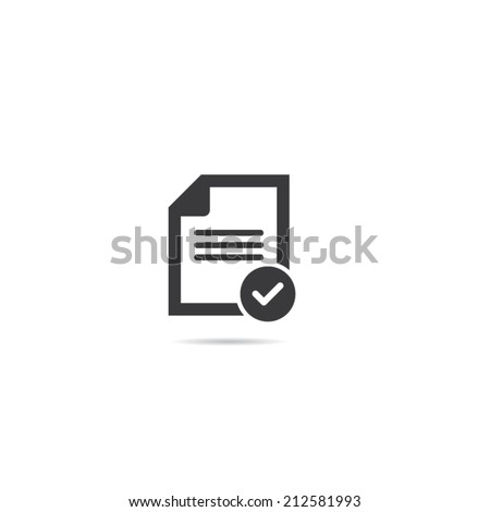 Document With Check Mark Icon - stock vector