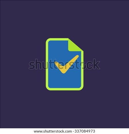 Document with check mark. Icon Vector. Icon Picture. Icon Graphic. Icon Art. Icon JPG. Icon JPEG. Icon EPS. Icon AI. Icon FLAT. Icon SIMPLE - stock vector