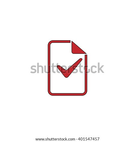 Document with check mark. Red flat simple modern illustration icon with stroke. Collection concept vector pictogram for infographic project and logo - stock vector