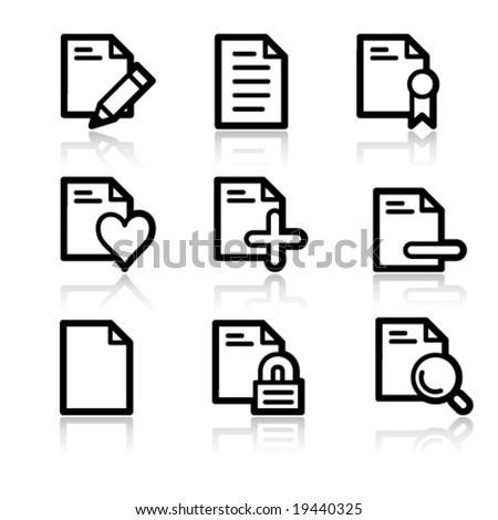 Documents black contour web icons V2 set 2 - stock vector