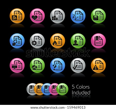 Documents Icon set / The file Includes 5 color versions in different layers. - stock vector
