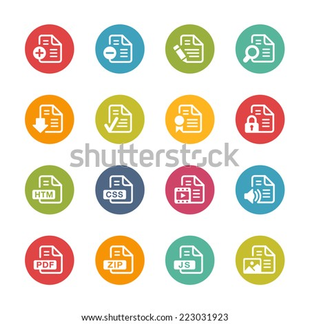 Documents Icons - 1 // Fresh Colors Series ++ Icons and buttons in different layers, easy to change colors ++ - stock vector