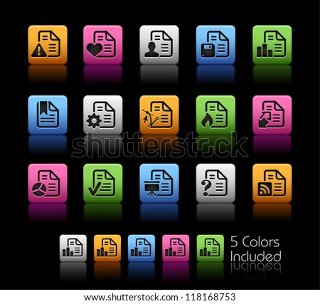 Documents Icons - 2 of 2 // Color Box------It includes 5 color versions for each icon in different layers ------ - stock vector