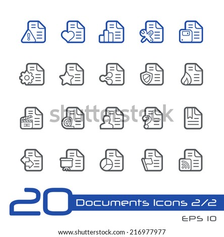 Documents Icons - 2 of 2 // Line Series - stock vector
