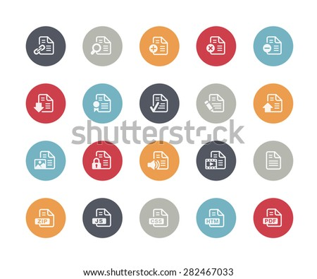 Documents Icons Set 1 of 2 // Classics Series - stock vector