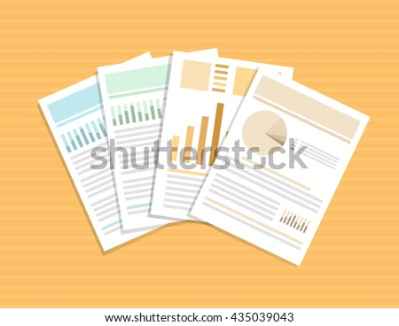 Documents on table, vector illustration EPS10, isolated objects.  - stock vector