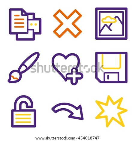 Documents web icons set. Office and CRM mobile symbols. - stock vector