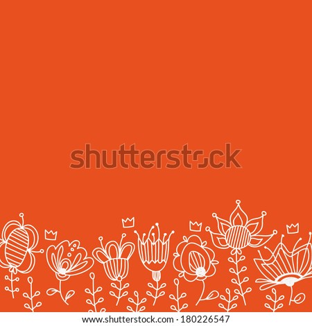 Doddle floral and crowns frame with empty space for your text - stock vector