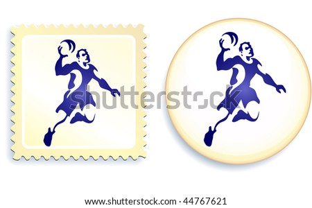Dodgeball Stamp and Button Original Vector Illustration - stock vector