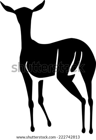 Doe or Female Antelope Figure - stock vector