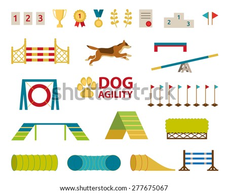 Dog agility jumping obstacle set - stock vector