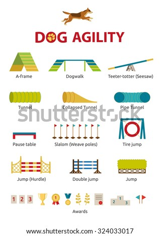 Dog agility jumping obstacle set: jump, tunnel, dogwalk, barrier, teeter, awards, panel, pipe - stock vector