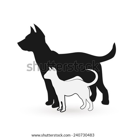 Dog and Cat silhouettes vector icon - stock vector