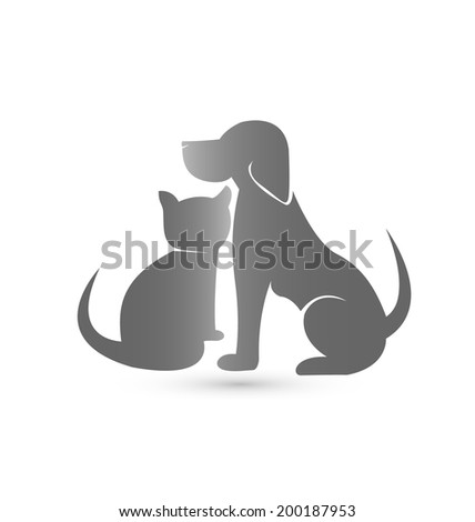 Dog and Cat silhouettes veterinary icon vector - stock vector