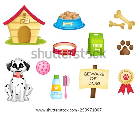 Dog and dogs stuff colorful clip art isolated on white background  - stock vector