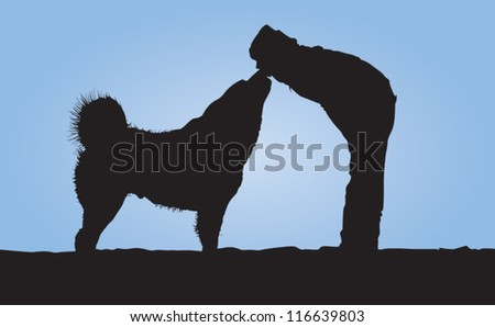 Dog and owner silhouette - stock vector