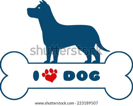 Dog Blue Silhouette Over Bone With Text And Red Love Paw Print Vector Illustration Isolated On White Background - stock vector
