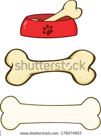 Dog Bone and Dog Bowl Cartoon Illustrations. Set Vector Collection - stock vector