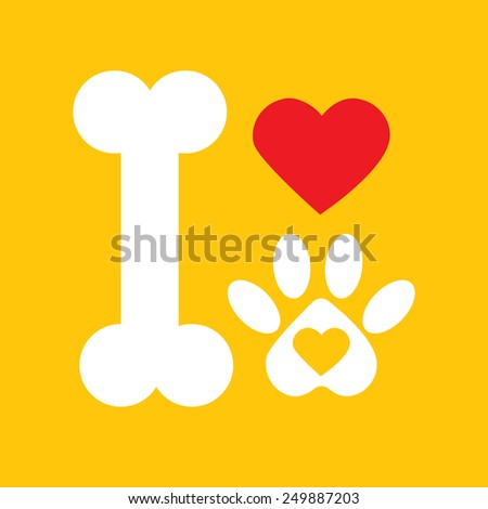 Dog bone love dog paw : I love dog concept on yellow background vector - stock vector