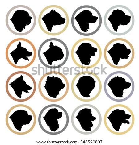 Dog Breed Circle Badges - Purebred dog head profile silhouette set - stock vector