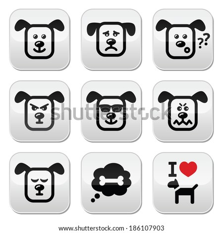 Dog buttons set - happy, sad, angry buttons isolated on white - stock vector