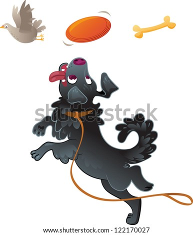 Dog Catching Disc in Jump - stock vector